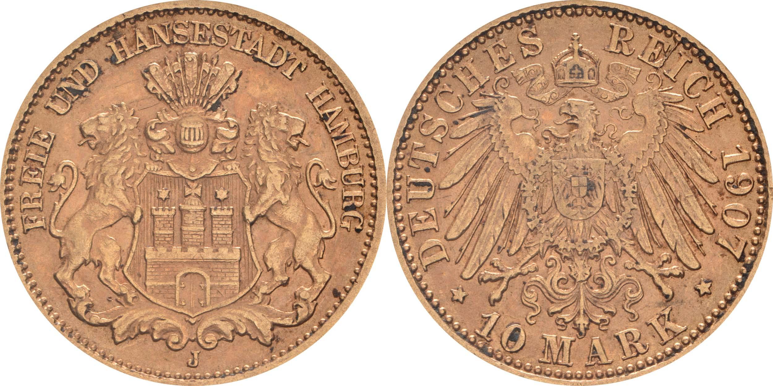 Übersicht:Deutschland : 10 Mark   1907 vz.