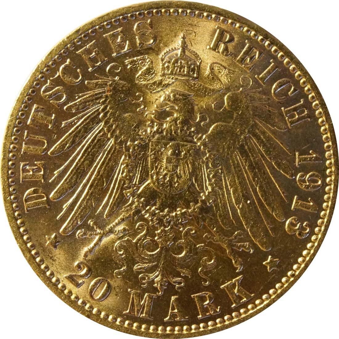 Rückseite:Deutschland : 20 Mark   1913 vz/Stgl.