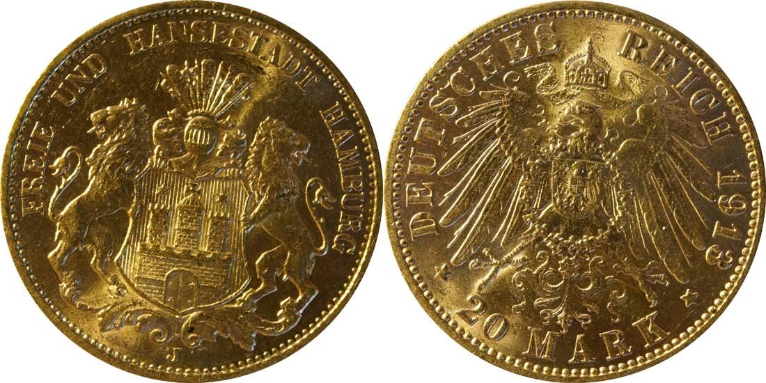 Deutschland : 20 Mark   1913 vz/Stgl.