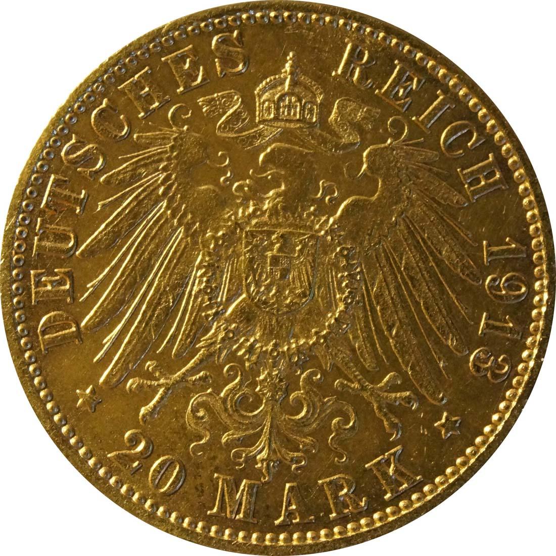 Rückseite:Deutschland : 20 MArk   1913 ss/vz.