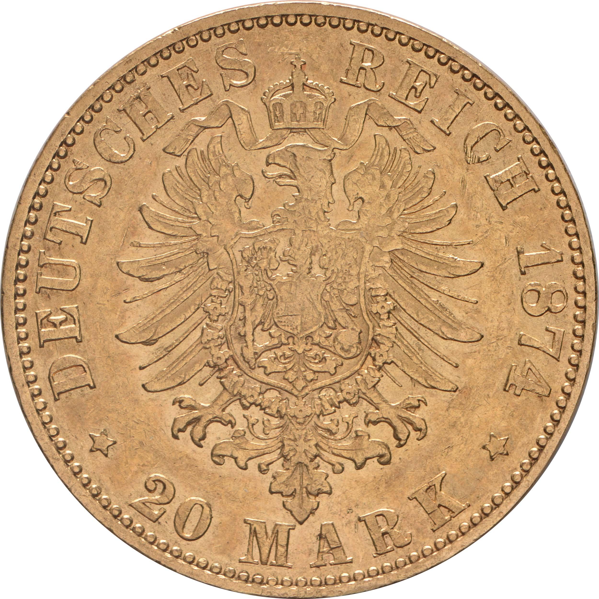 Rückseite :Deutschland : 20 Mark   1874 ss.