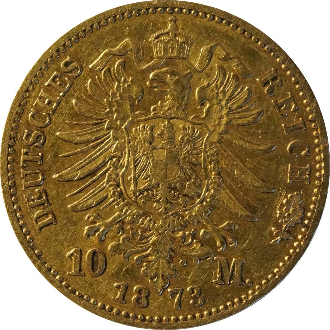 Rückseite :Deutschland : 10 Mark   1873 f.ss