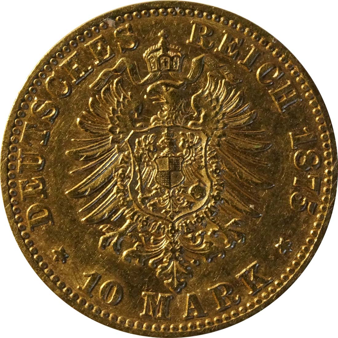 Rückseite :Deutschland : 10 Mark   1875 ss.