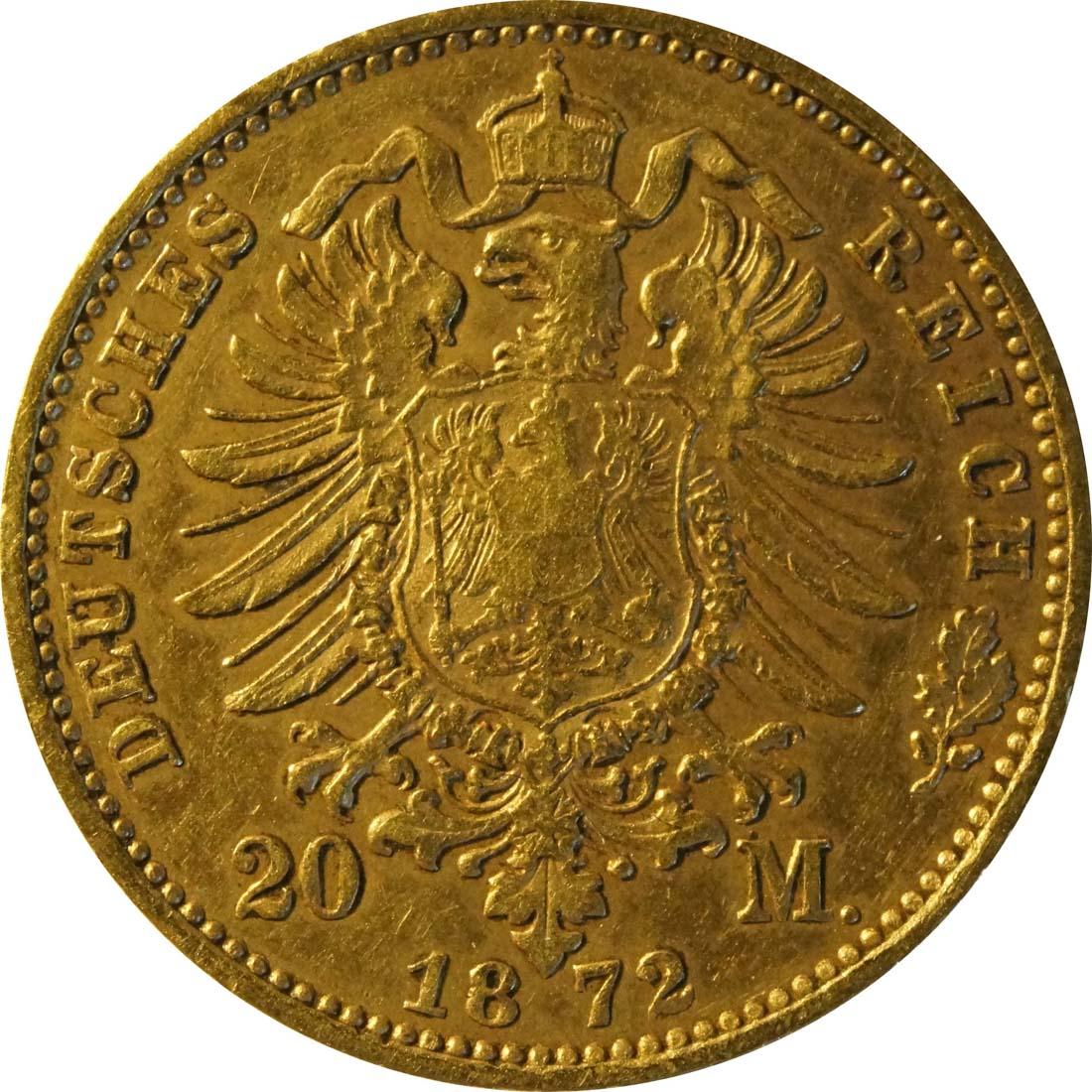 Rückseite :Deutschland : 20 Mark   1872 ss/vz.