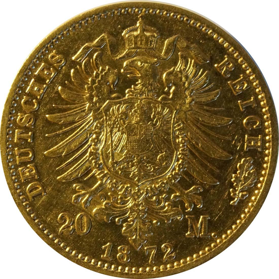 Rückseite:Deutschland : 20 Mark   1872 ss.