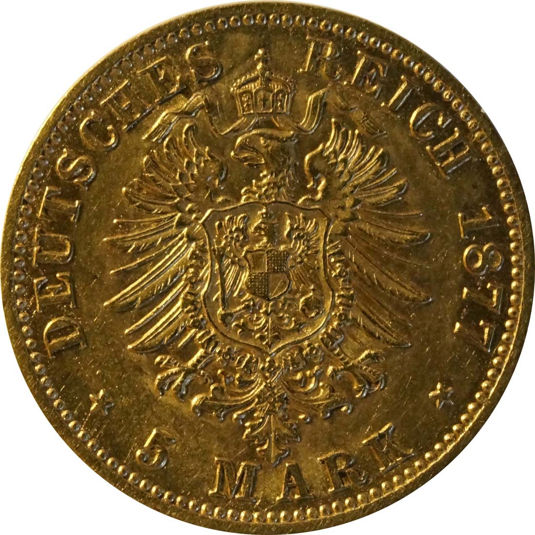 Rückseite:Deutschland : 5 Mark   1877 ss.