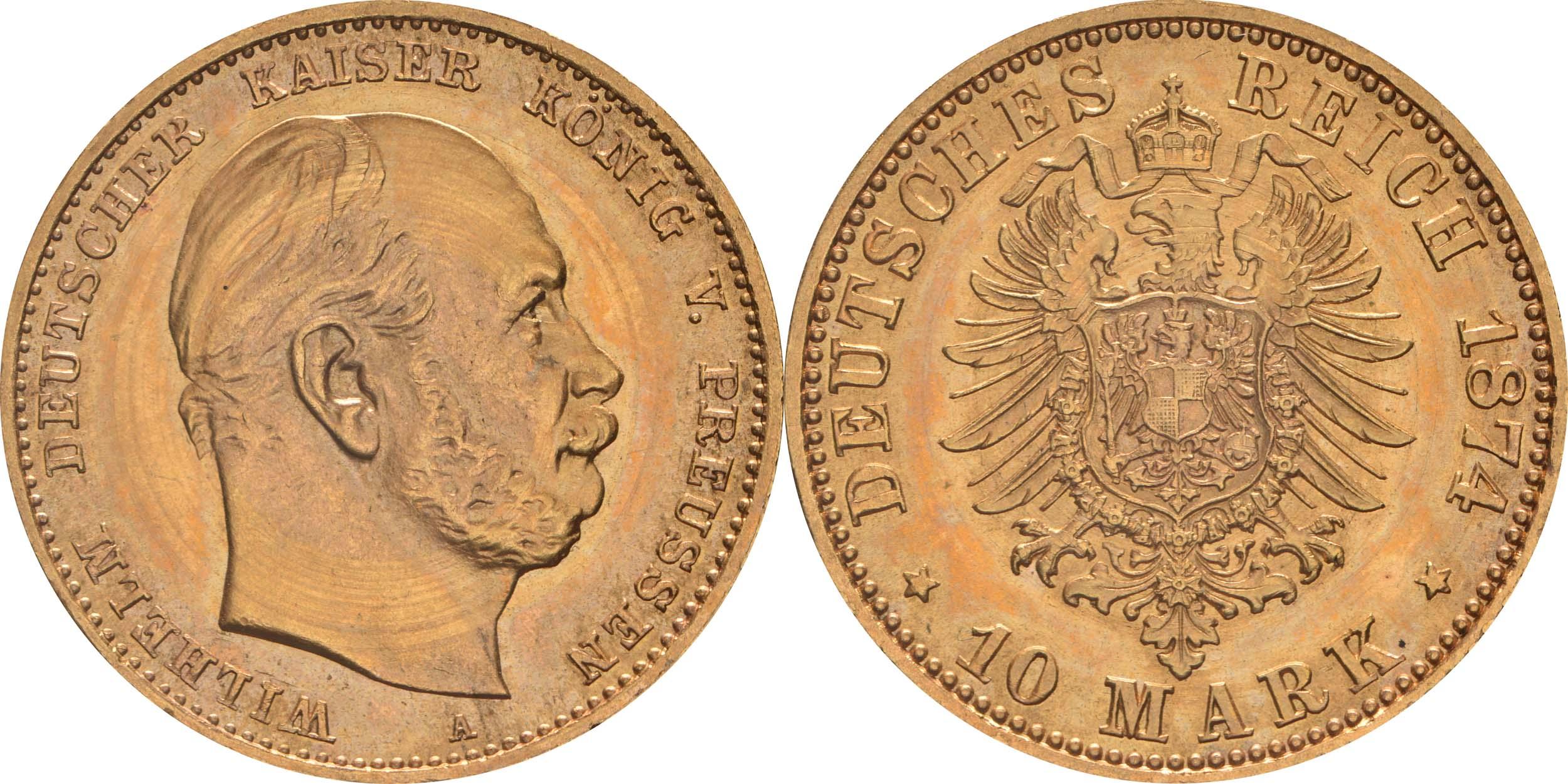 Übersicht:Deutschland : 10 Mark  winz. Kratzer 1874 Stgl.