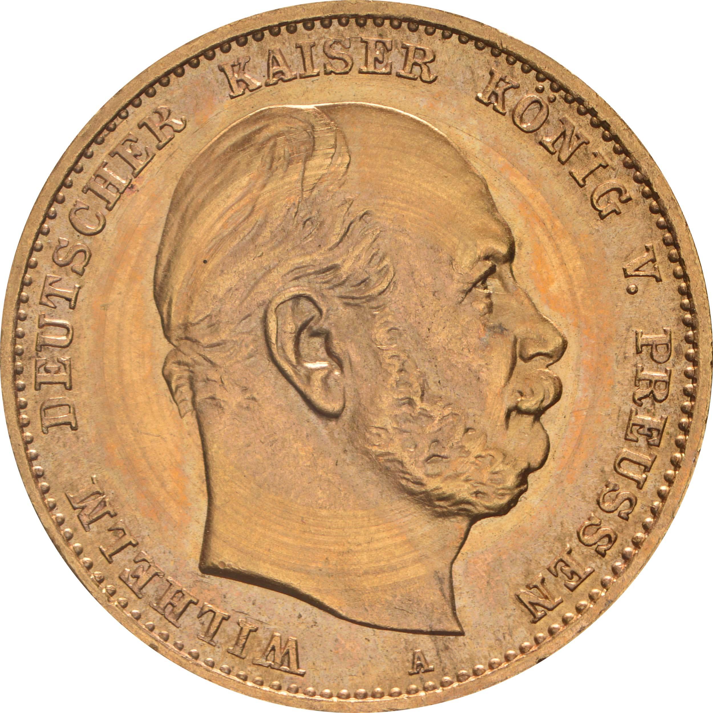 Vorderseite:Deutschland : 10 Mark  winz. Kratzer 1874 Stgl.