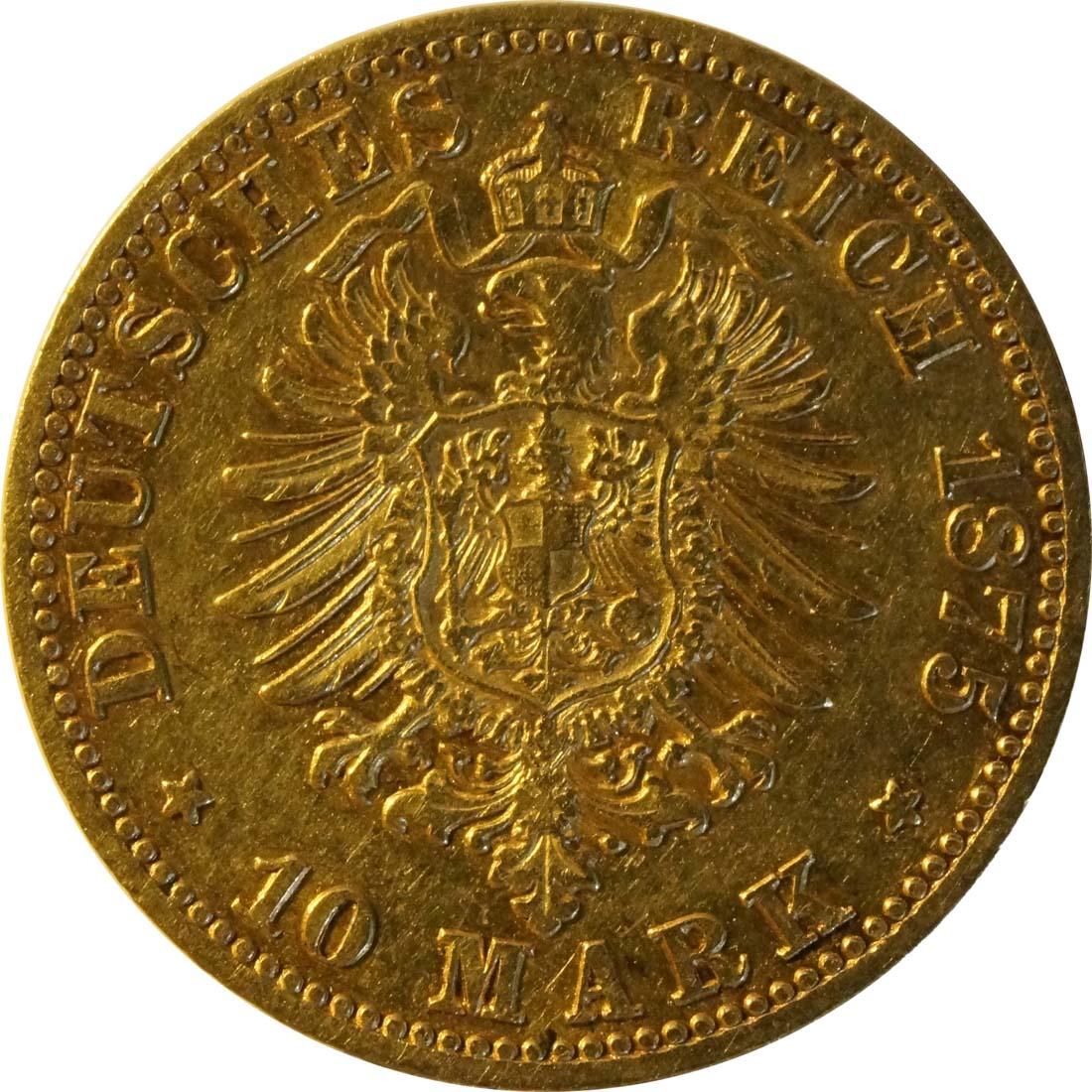 Rückseite:Deutschland : 10 Mark  winz. Rs. 1875 ss/vz.