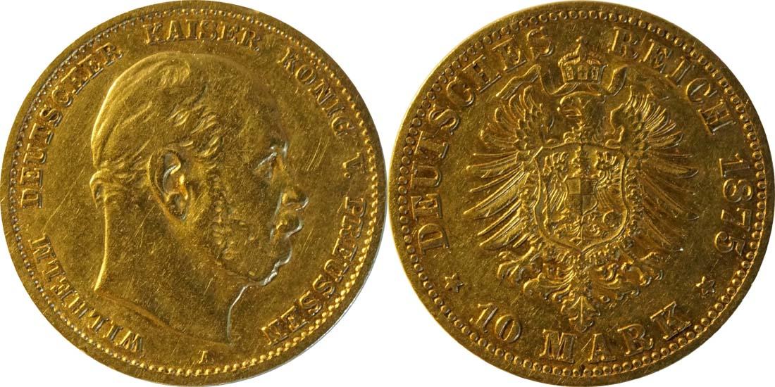 Lieferumfang:Deutschland : 10 Mark  winz. Rs. 1875 ss/vz.