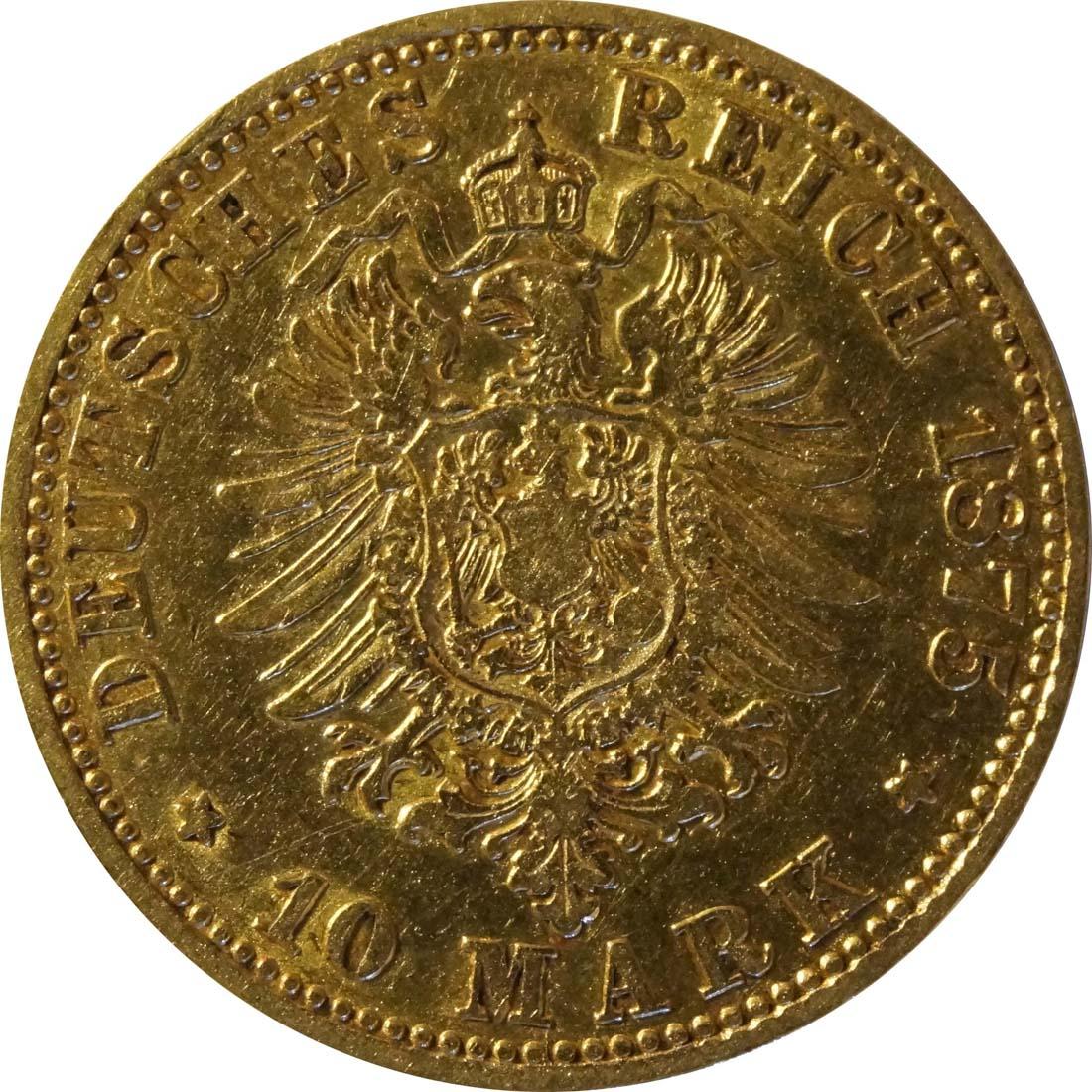 Rückseite :Deutschland : 10 Mark  winz. Kratzer 1875 ss.