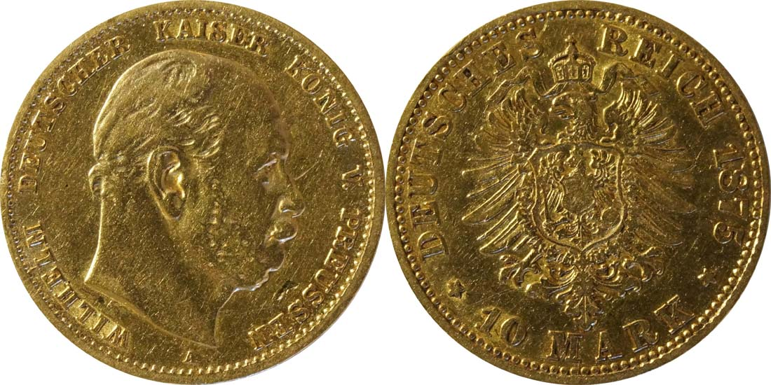 Deutschland : 10 Mark  winz. Kratzer 1875 ss.