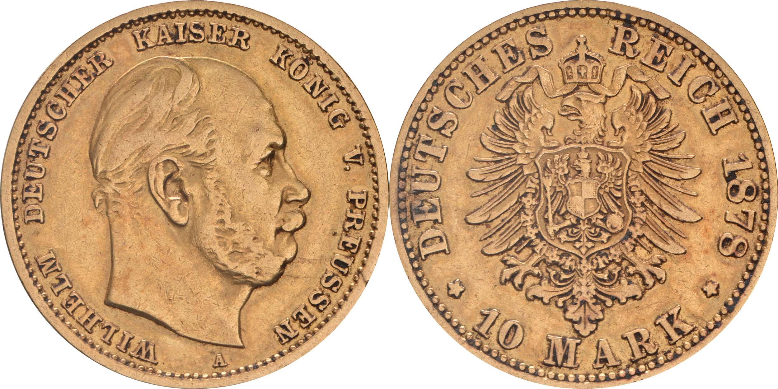 Deutschland : 10 Mark  winz. Kratzer 1878 ss/vz.
