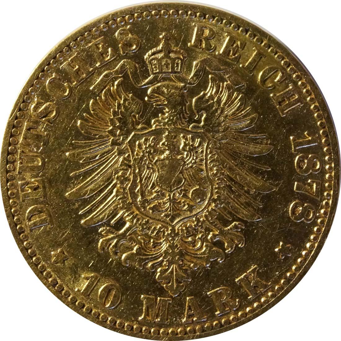 Rückseite:Deutschland : 10 Mark   1878 ss.