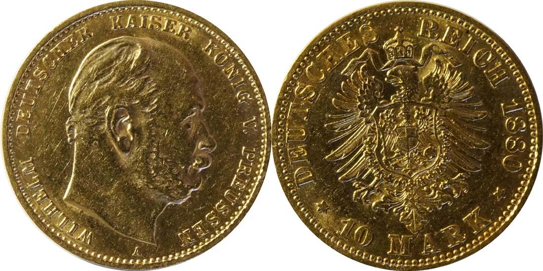 Übersicht:Deutschland : 10 Mark   1880 ss/vz.