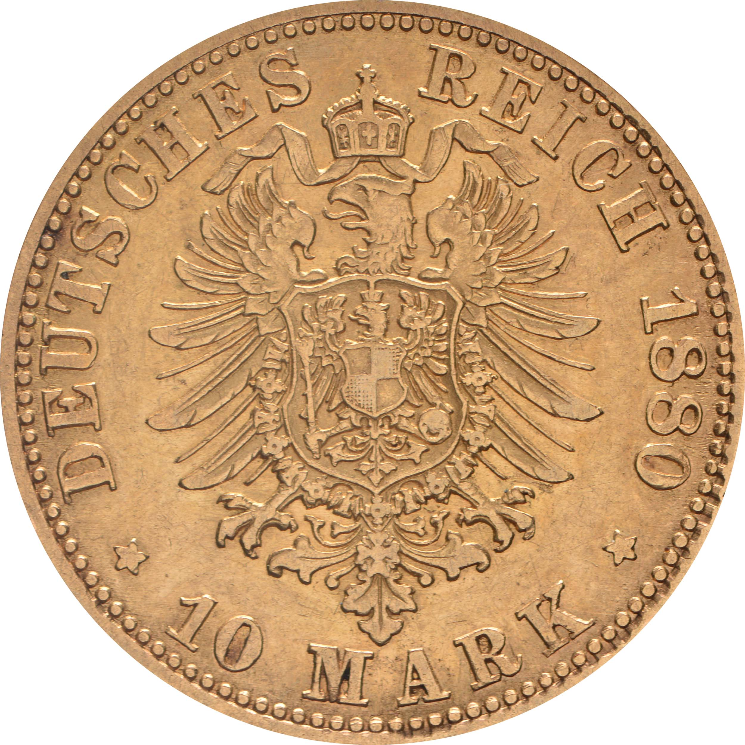 Rückseite :Deutschland : 10 Mark   1880 ss/vz.