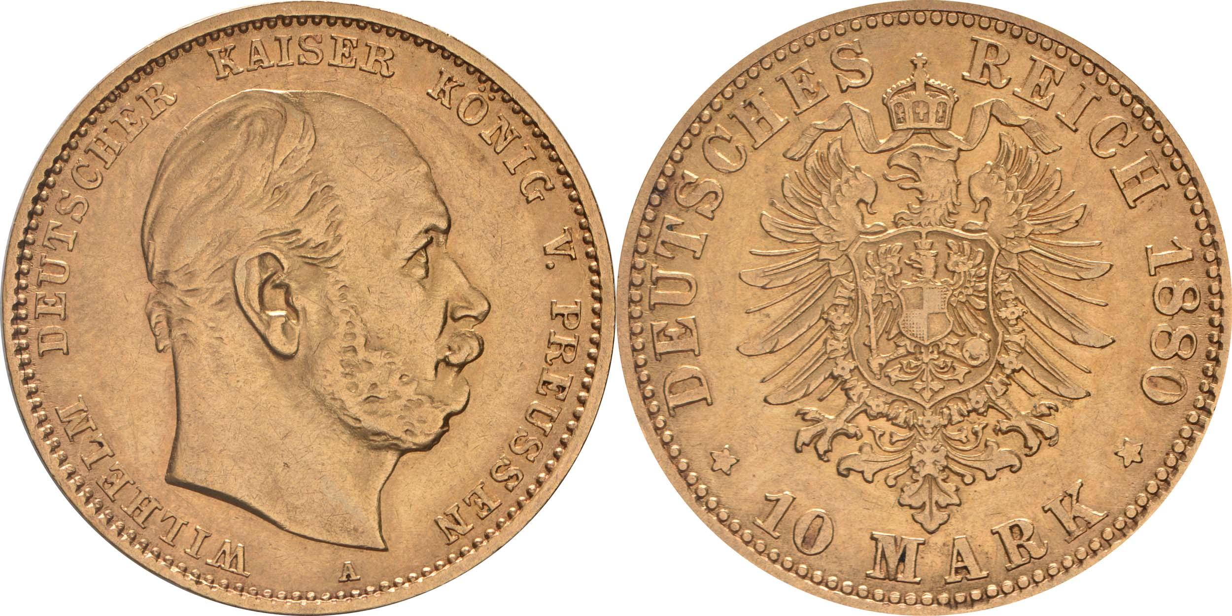 Deutschland : 10 Mark   1880 ss/vz.
