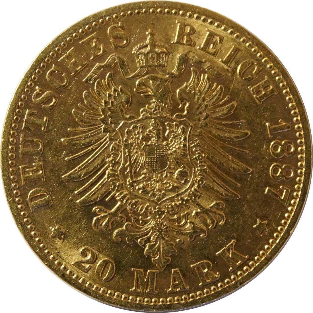 Rückseite:Deutschland : 20 Mark   1887 vz.