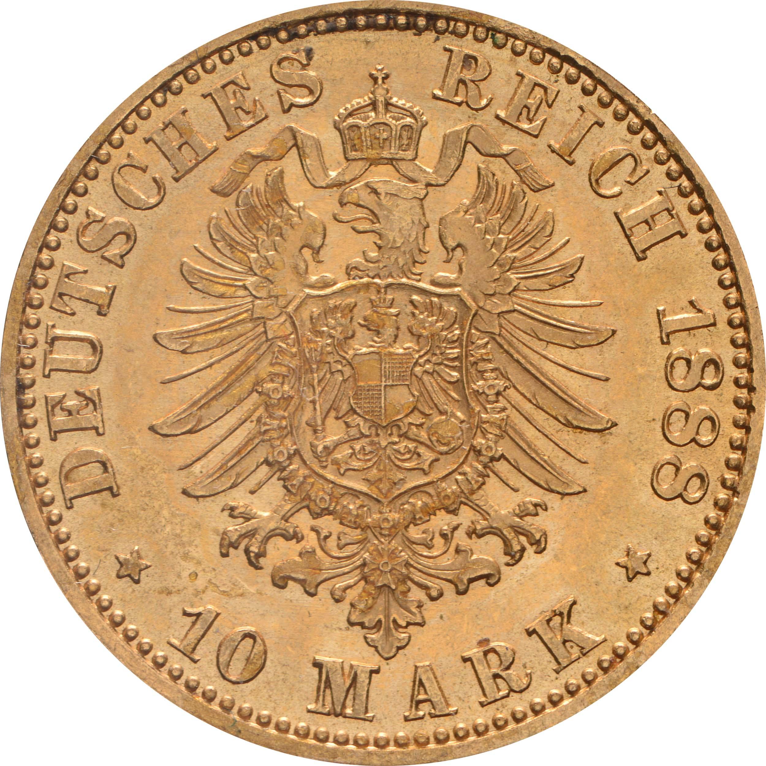 Rückseite:Deutschland : 10 Mark Friedrich  1888 vz/Stgl.