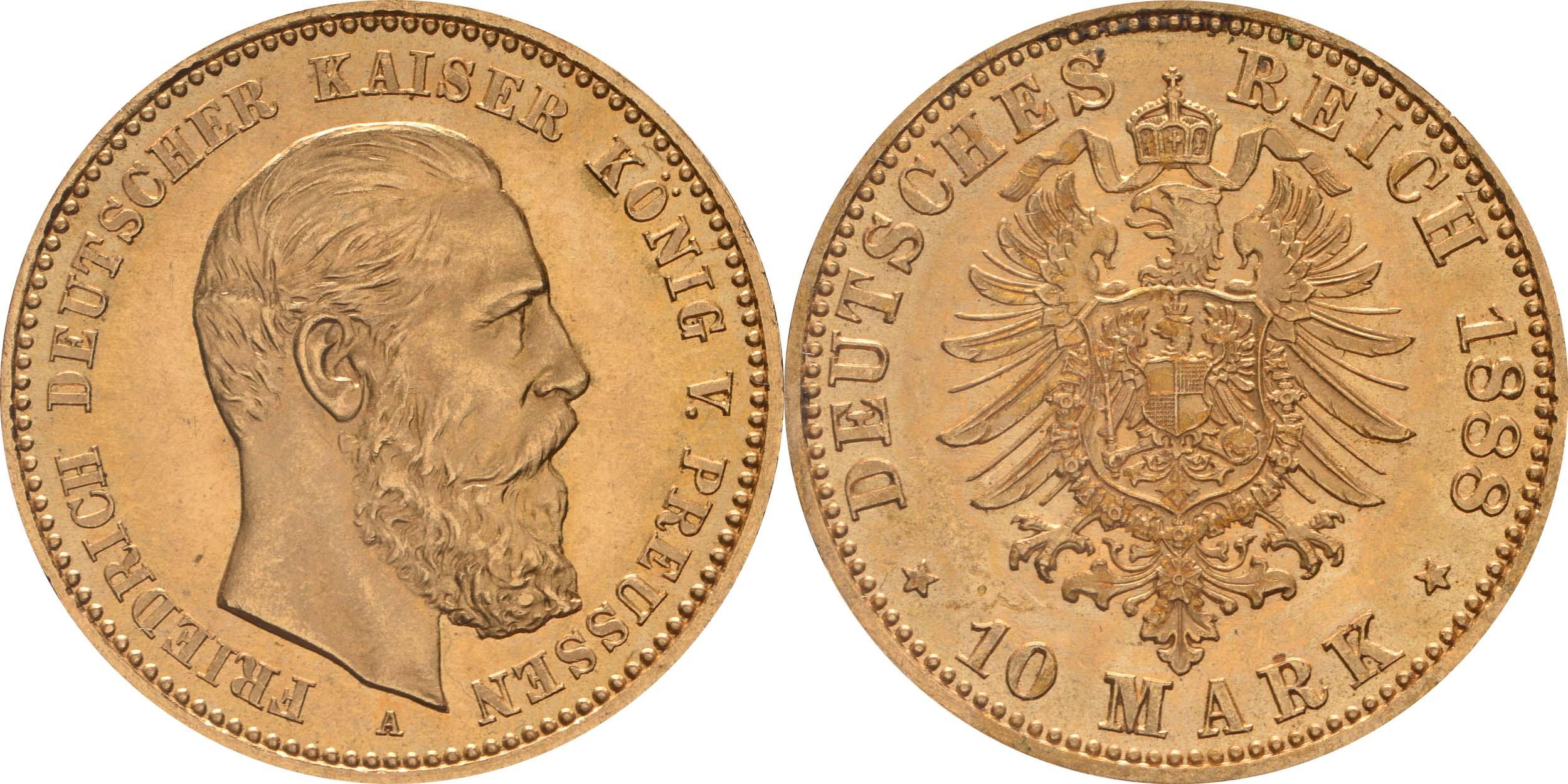 Übersicht:Deutschland : 10 Mark Friedrich  1888 vz/Stgl.