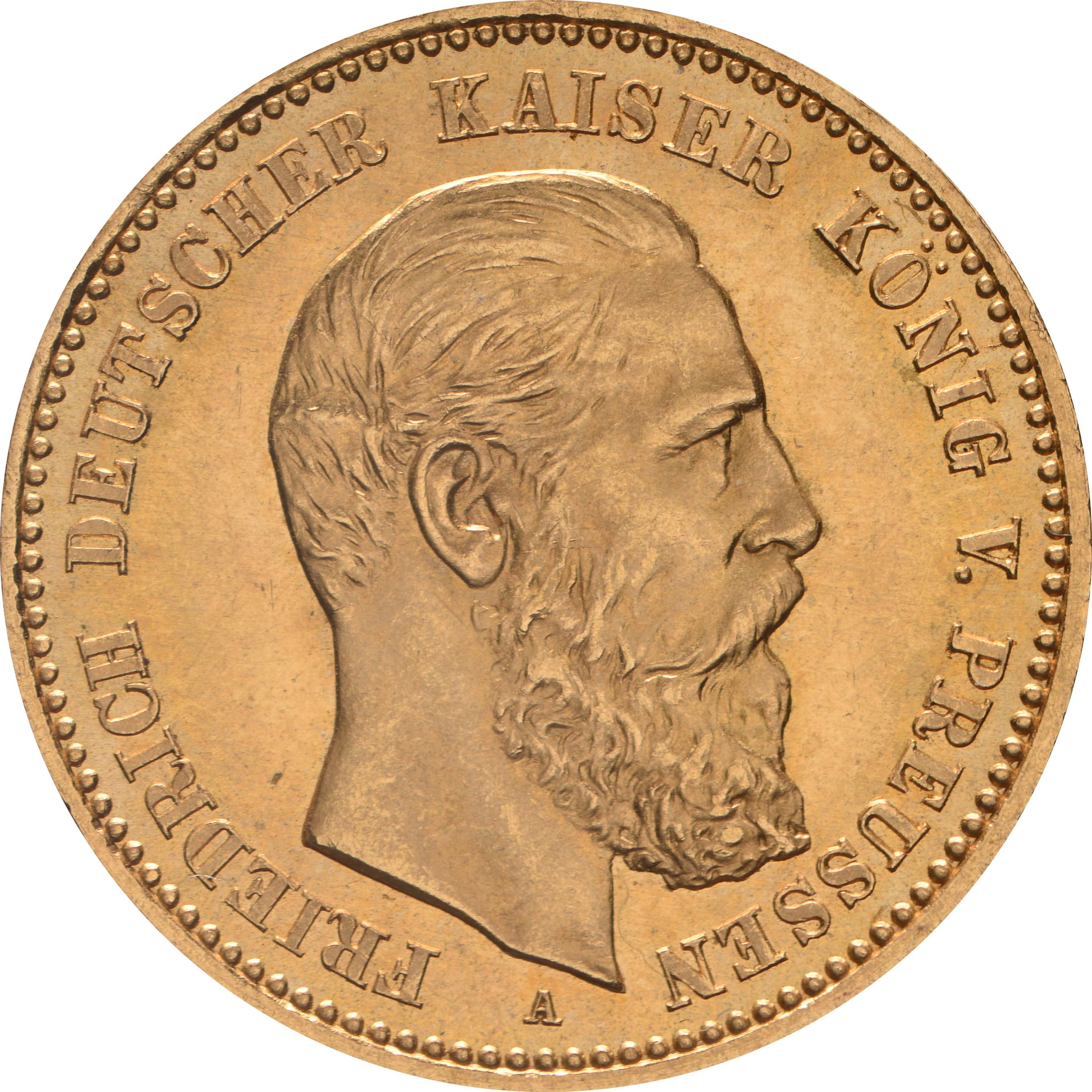 Vorderseite:Deutschland : 10 Mark Friedrich  1888 vz/Stgl.