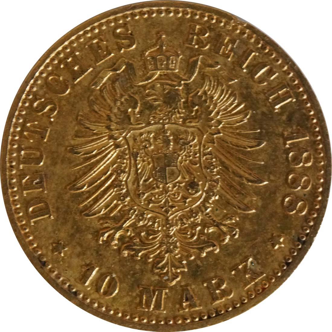 Rückseite:Deutschland : 10 Mark Friedrich  1888 ss/vz.