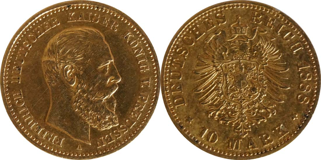 Deutschland : 10 Mark Friedrich  1888 ss/vz.