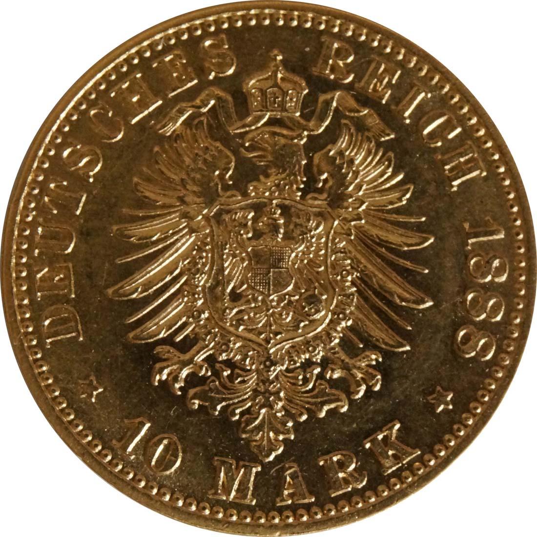 Rückseite:Deutschland : 10 Mark Friedrich winz. Kratzer 1888 vz/Stgl.
