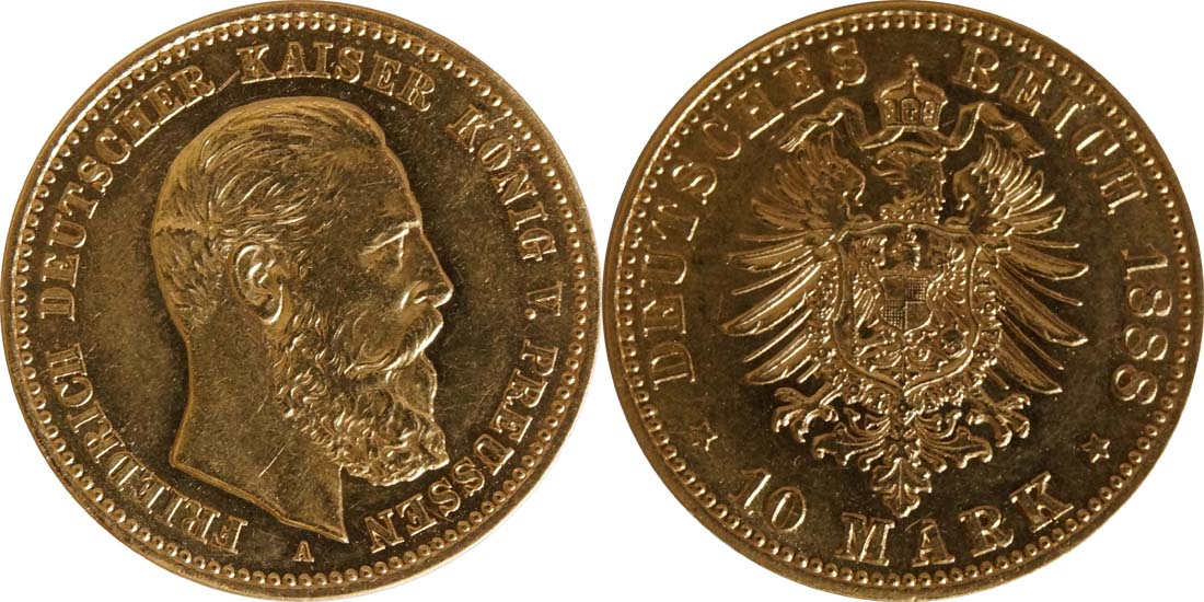 Lieferumfang:Deutschland : 10 Mark Friedrich winz. Kratzer 1888 vz/Stgl.