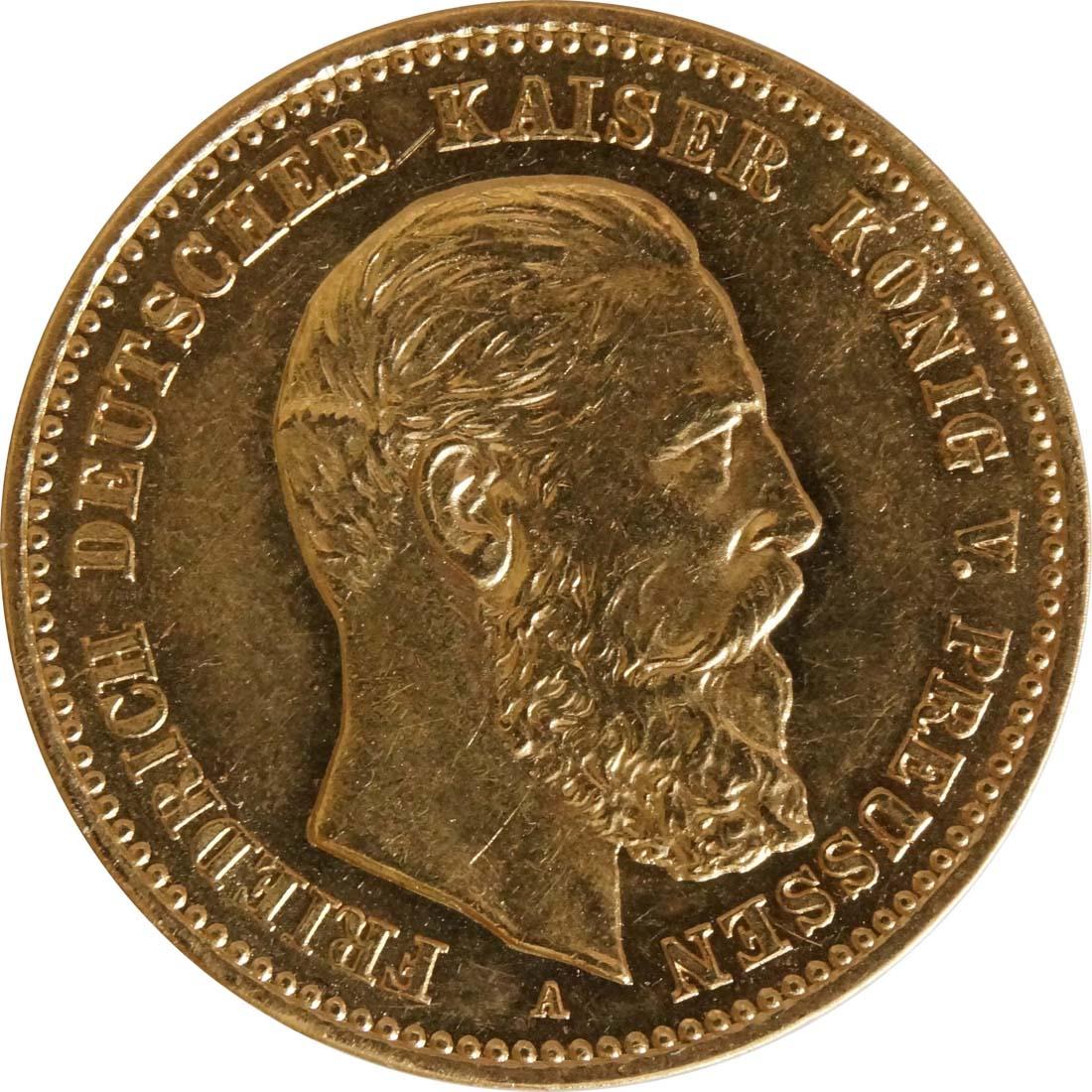 Vorderseite:Deutschland : 10 Mark Friedrich winz. Kratzer 1888 vz/Stgl.