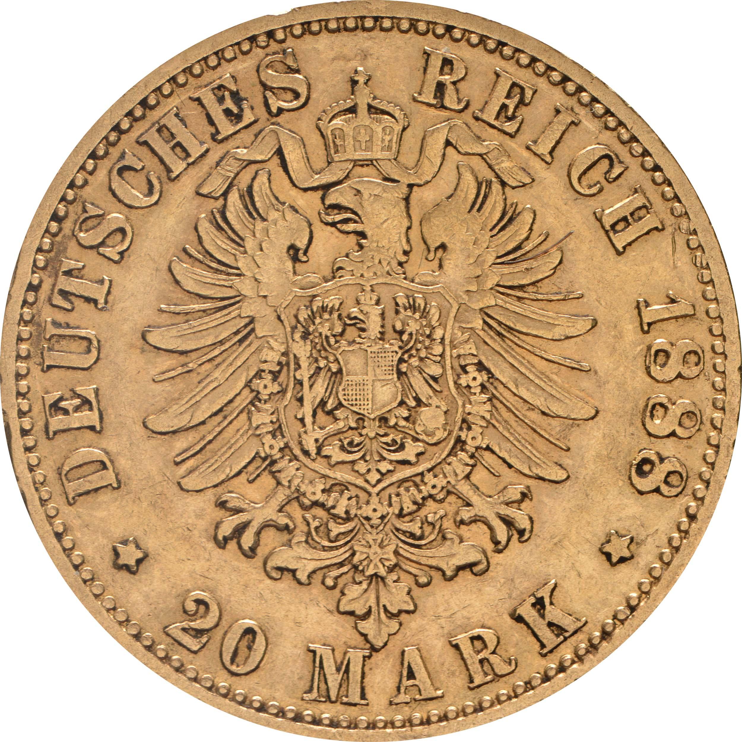 Rückseite:Deutschland : 20 Mark Friedrich winz. Rs. 1888 ss/vz.
