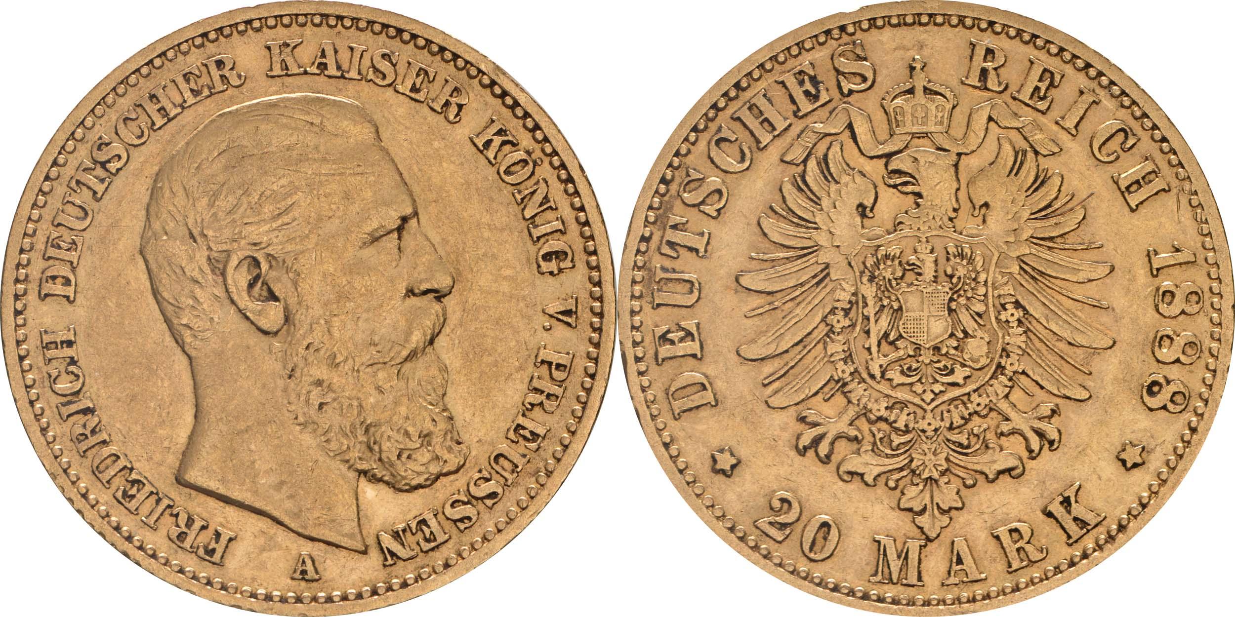 Deutschland : 20 Mark Friedrich winz. Rs. 1888 ss/vz.