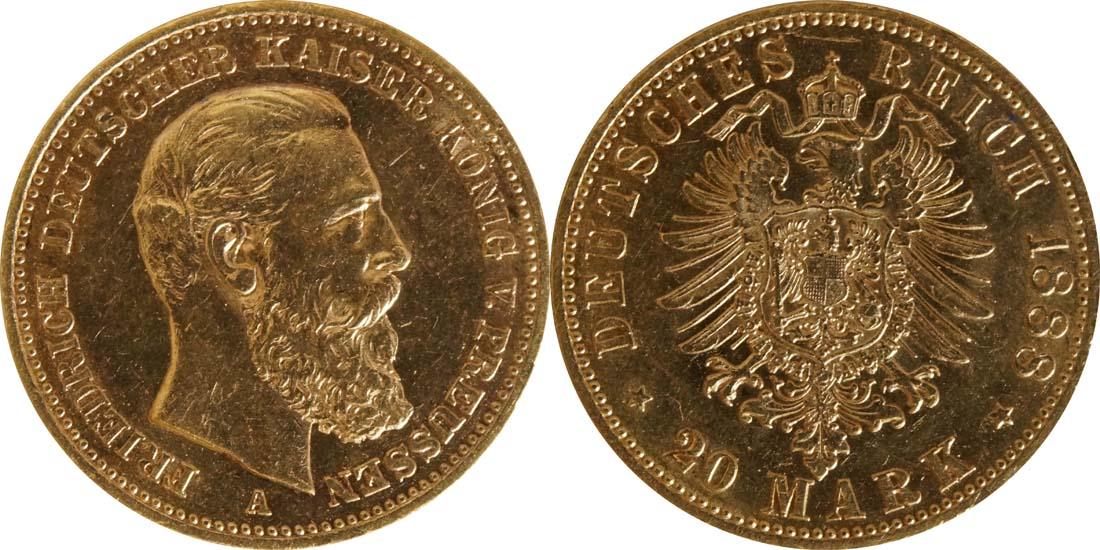 Deutschland : 20 Mark Friedrich  1888 ss/vz.