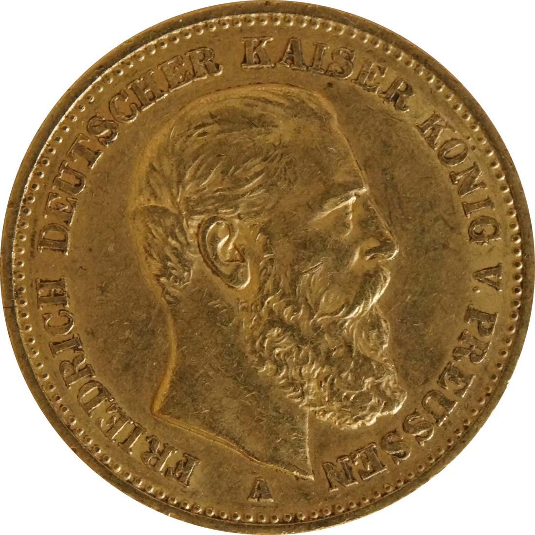 Vorderseite:Deutschland : 20 Mark Friedrich  1888 ss/vz.
