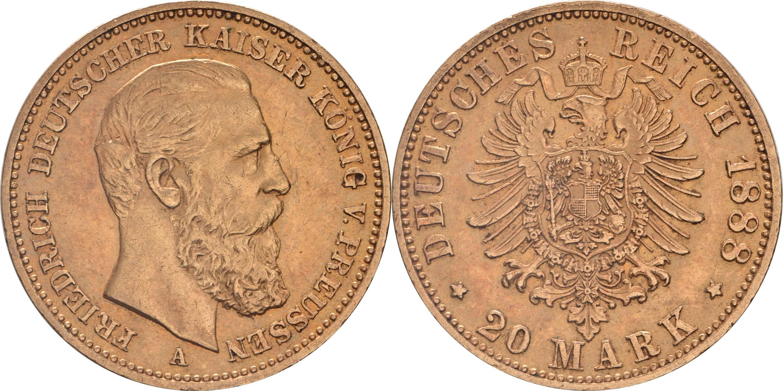 Lieferumfang:Deutschland : 20 Mark Friedrich winz. Kratzer 1888 vz.