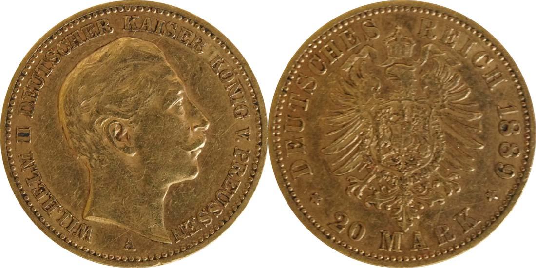 Deutschland : 20 Mark  winz. Kratzer 1889 ss.