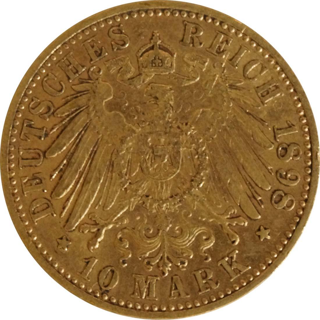 Bild der Rückseite :Deutschland - 10 Mark   1898 ss.