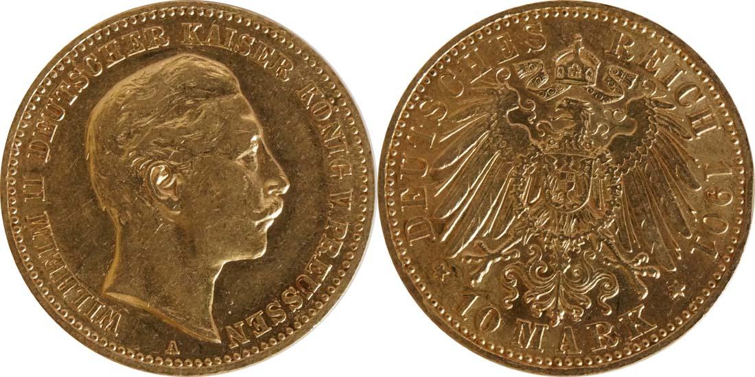 Übersicht:Deutschland : 10 Mark   1901 ss/vz.