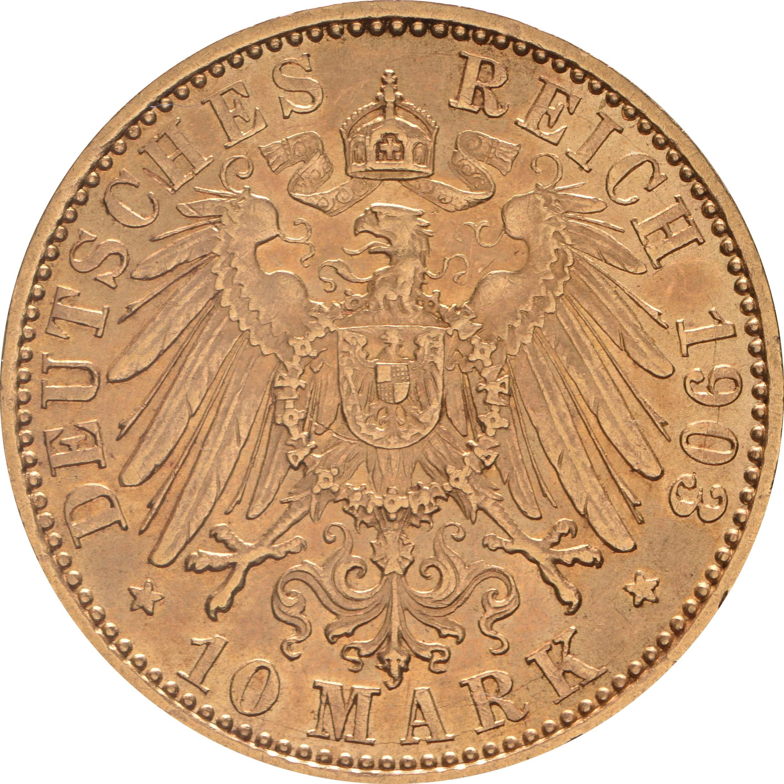 Rückseite :Deutschland : 10 Mark   1903 vz.