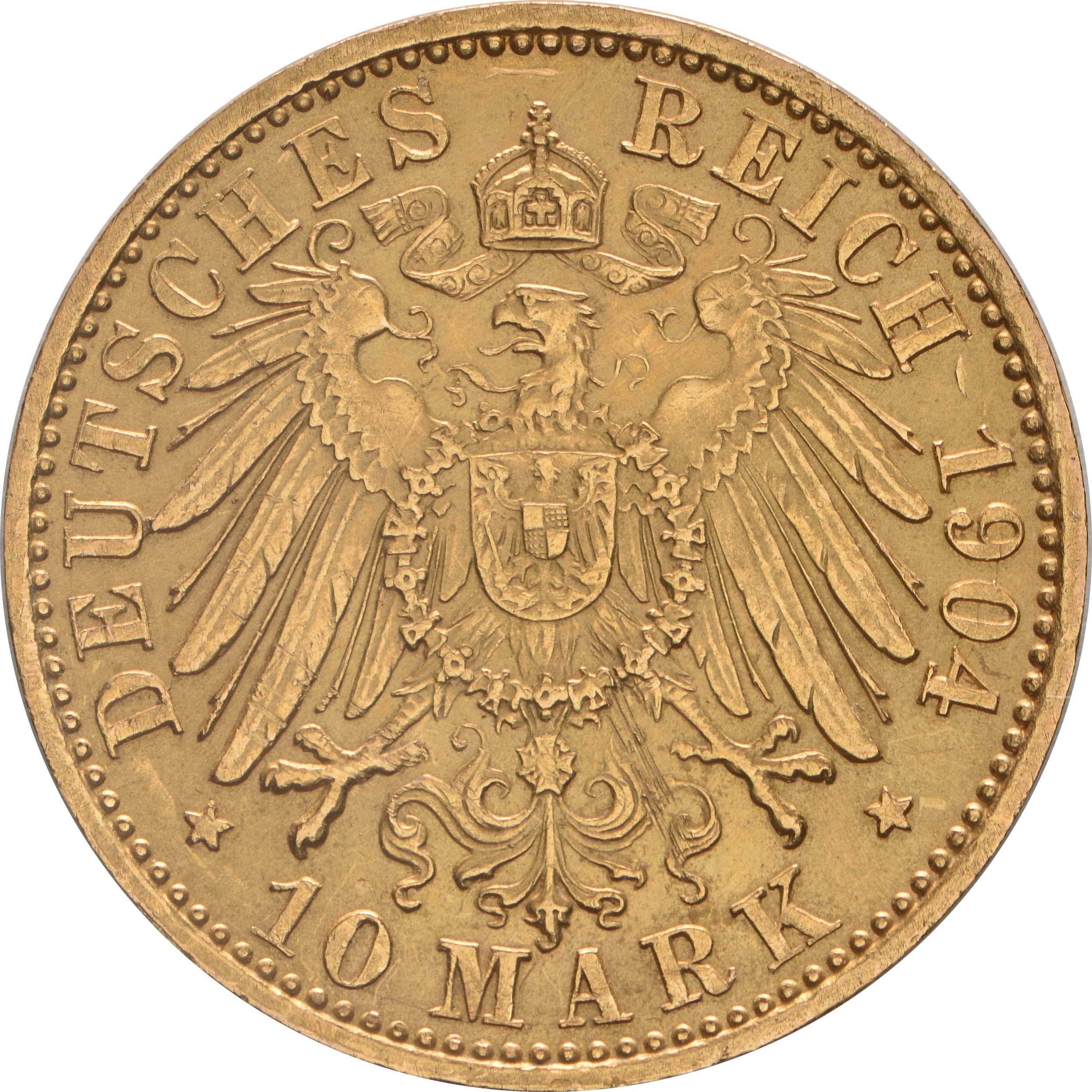 Rückseite:Deutschland : 10 Mark   1904 vz/Stgl.