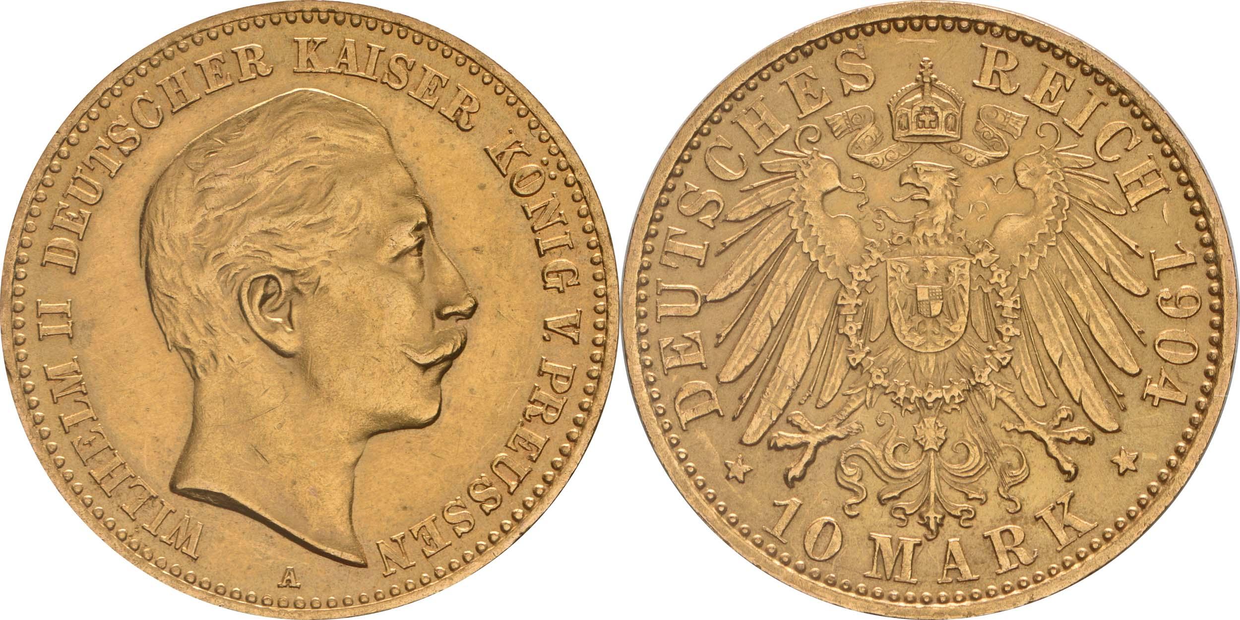 Deutschland : 10 Mark   1904 vz/Stgl.