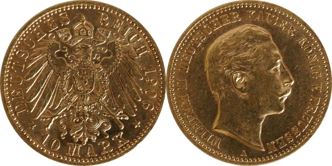 Übersicht:Deutschland : 10 Mark   1906 vz/Stgl.