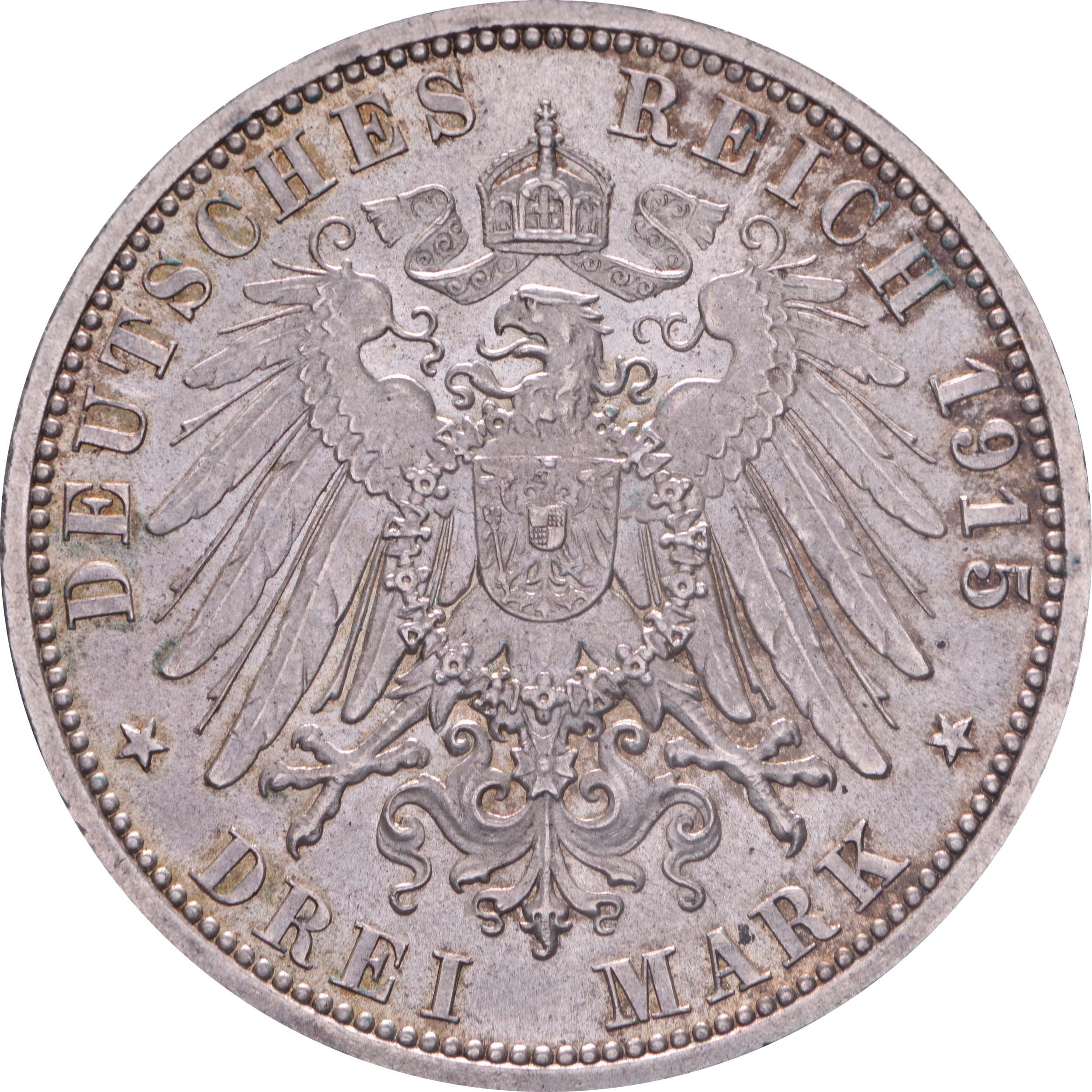 Rückseite:Deutschland : 3 Mark  winz. Rs. 1915 vz/Stgl.