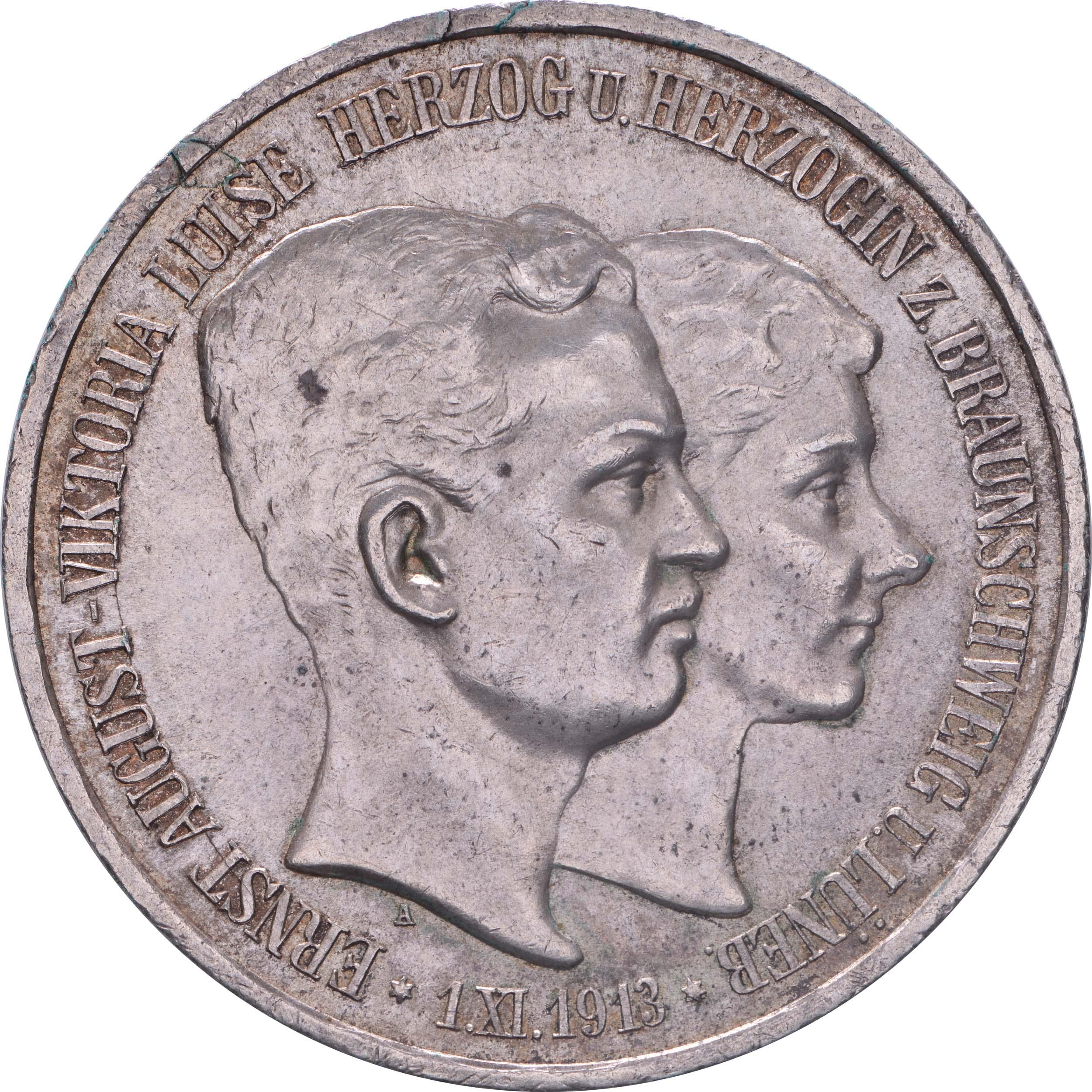 Vorderseite:Deutschland : 3 Mark  winz. Rs. 1915 vz/Stgl.