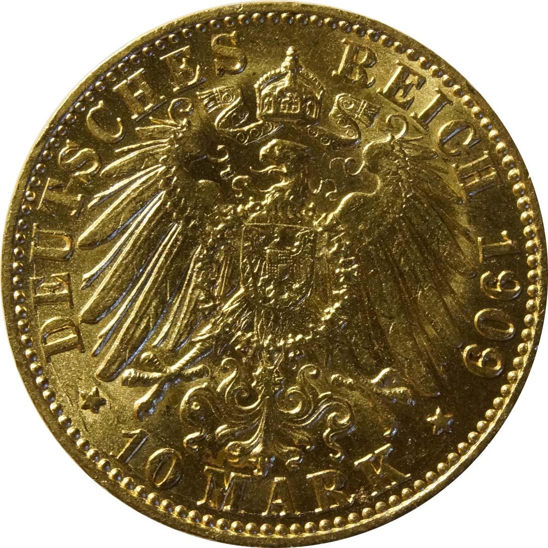 Rückseite:Deutschland : 10 Mark   1909 vz/Stgl.