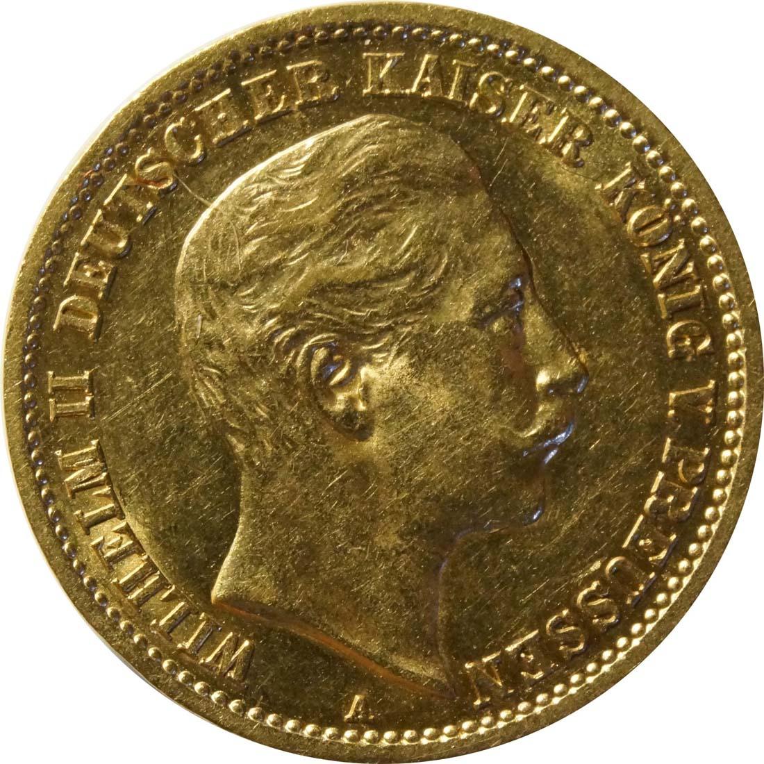 Vorderseite:Deutschland : 10 Mark  winz. Kratzer 1910 vz.