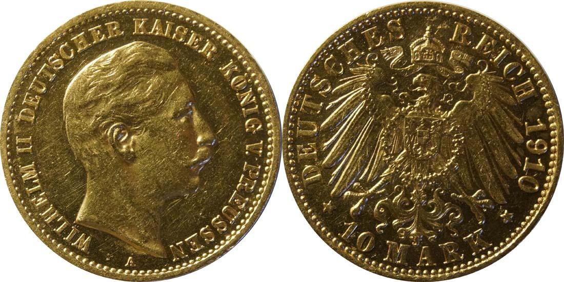 Übersicht:Deutschland : 10 Mark   1910 vz/Stgl.