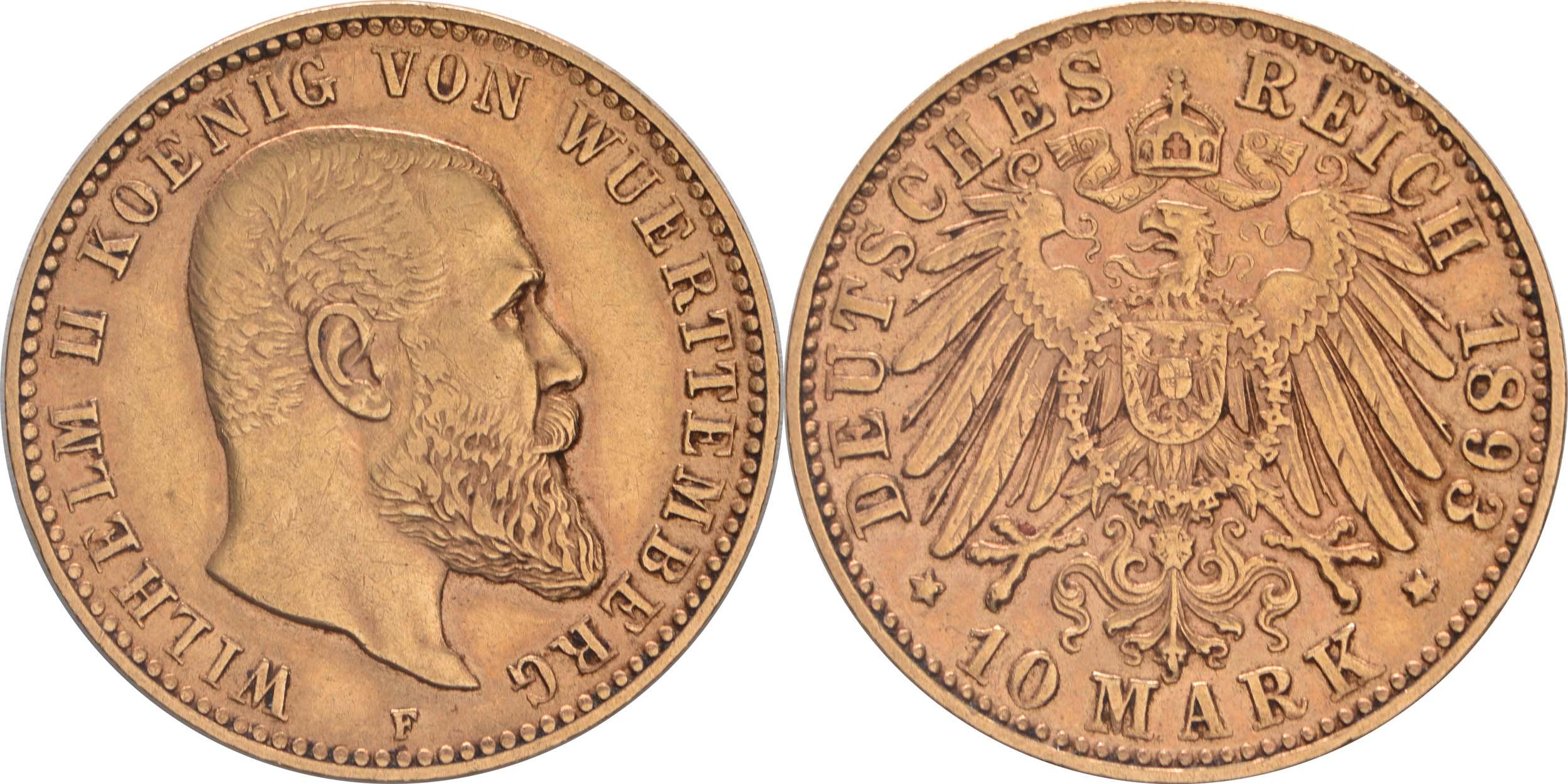 Lieferumfang:Deutschland : 10 Mark  winz. Kratzer 1893 ss/vz.