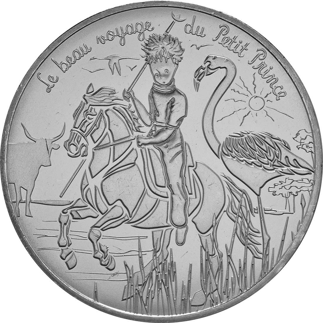 Vorderseite:Frankreich : 10 Euro 19/24 Der kleine Prinz auf reitet auf dem Pferd  2016 bfr