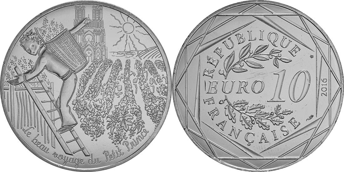 Lieferumfang:Frankreich : 10 Euro 21/24 Der kleine Prinz erntet  2016 bfr